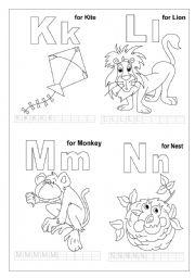English Worksheets: K L M