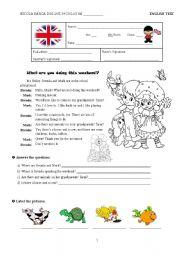 English Worksheet: Test B - 6th Grade