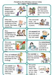 English Worksheet: Activity cards for Complex Object Infinitive