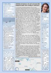 English Worksheets:  First ever Solo Expedition of the Antarctic using manpower only-(done by a woman!)
