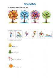 English Worksheet: Seasons and clothes