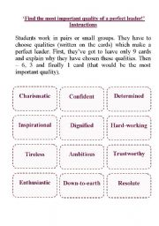 Printables Leadership Worksheets english teaching worksheets other a perfect leader