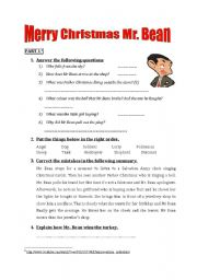English Worksheets: Merry Christmas Mr. Bean (entire film: 3 parts)