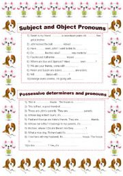 Subject/object pronouns Possessive determiners/pronouns