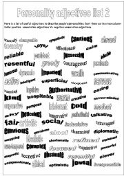 English Worksheet: Personality adjectives, list 2