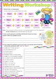 English Worksheet: Writing Workshop 1  (for elementary students)