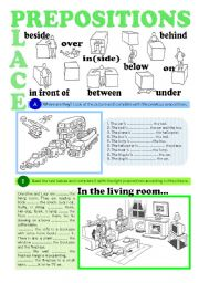 English Worksheet: PREPOSITIONS OF PLACE (greyscale + key)