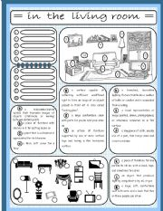 English Worksheet: In the living room (2/4)