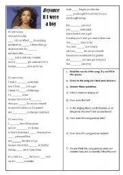 English Worksheet: Song - If I were a boy - Beyonce