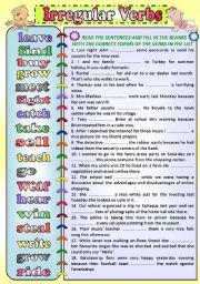 English Worksheet: IRREGULAR VERBS (Simple Past Tense)