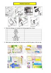 English Worksheet: Asking and telling the way PART 1