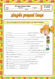 ESL kids worksheets: simple present tense
