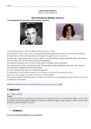 English Worksheet: Elvis Presley and Mickael Jackson: similar lives & deaths