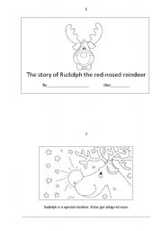 English Worksheet: the story of Rudolph the red-nosed reindeer booklet