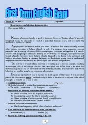English Worksheet: An exam about Business Ethics
