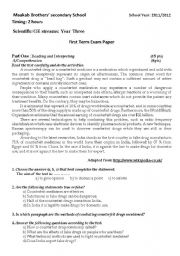 English worksheet: anothre useful exam paper for high school student