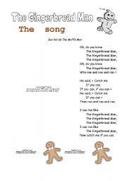 English Worksheet: Gingerbread Man Song