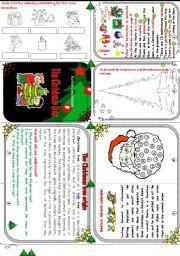 English Worksheet: The Christmas tree minibook.