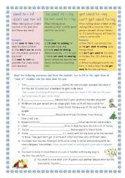 English Worksheet: used to - be used to+ing - get used to +ing