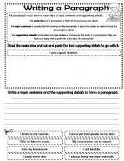 Writing a paragraph - ESL worksheet by lizsantiago