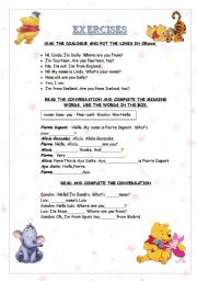 English Worksheets:  Short dialogues and conversations: Introducing yourself and others.