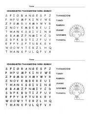 English Worksheet: Kindergarten Thanksgiving Word Search