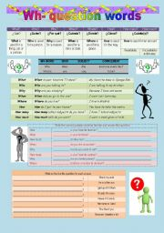 English Worksheet: wh- question words