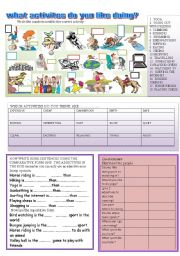 English Worksheet: what activities do you like doing?