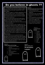 English Worksheets: Do you believe in ghosts?