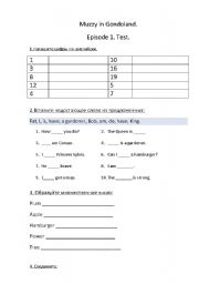 English worksheet: Reviewing test of the first episode of Muzzy in Gondoland