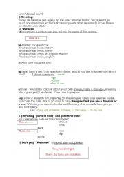 English Worksheet: Animal world lesson plan
