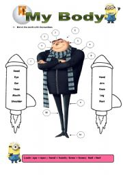 English Worksheet: Body Parts (film: Despicable Me)