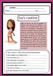 Isa´s Routine - adverbs of frequency, prepositions etc...