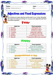 English Worksheet: Adjective and idioms for writing a story