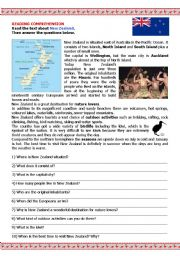 English Worksheet: NEW ZEALAND - geographical features