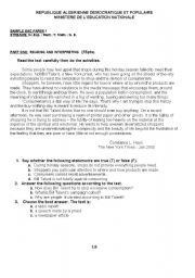 English Worksheets: bac sample