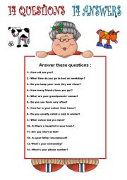 English Worksheets: 14 QUESTIONS AND 14 ANSWERS