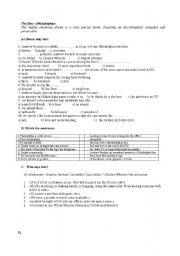 worksheet about the film «Philadelphia»