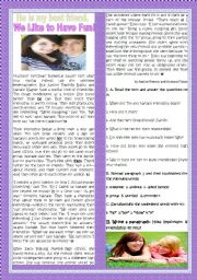 English Worksheet: HE�S MY BEST FRIEND. WE LIKE TO HAVE FUN!