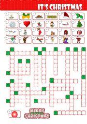 English Worksheet: It�s Christmas Crossword