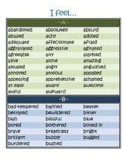 English Worksheets: Expanded List of Feeling Words