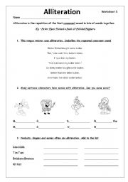 Worksheet Alliteration Worksheets english teaching worksheets alliteration alliteration