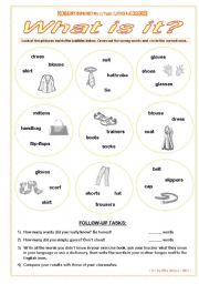 English Worksheet: CLOTHES � What is it? � VOCABULARY WORKSHEET NO. 2 � answer key included � fully editable � GOOD FOR ADULTS AT BEGINNER OR ELEMENTARY LEVEL, TOO!!