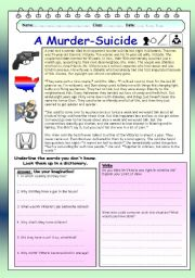 English Worksheets: Imaginative reading comprehension - A Murder-Suicide (5)