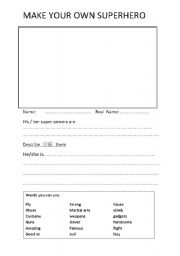 English teaching worksheets: Superheroes