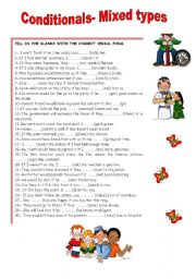 English Worksheet: CONDITIONALS- MIXED TYPES