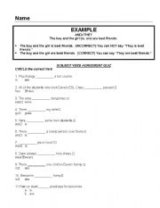 English Worksheet: Subject Verb Agreement Quiz