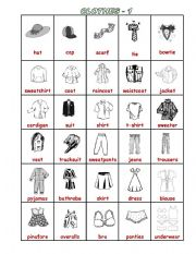 English Worksheet: clothes & accessorize pictionary (1-2) editable