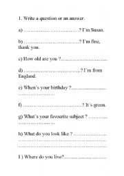 English Worksheets: Questions or answers
