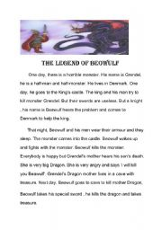 English Worksheets: beowulf simple story
